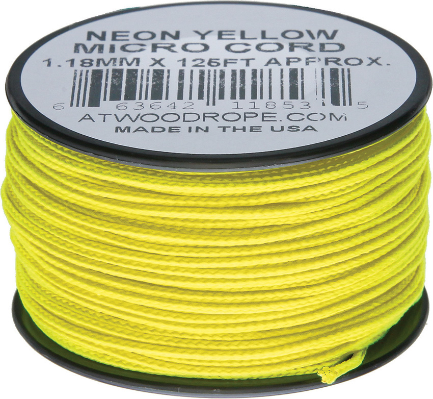 Atwood Rope MFG Micro Cord 125ft Neon Yellow