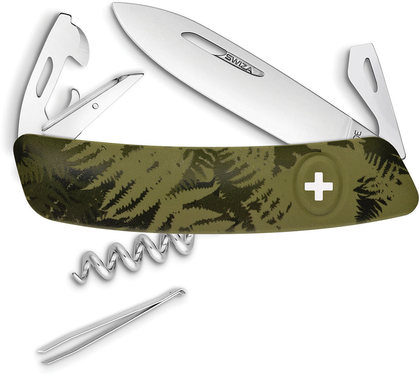 Swiza C03 Button Lock Green Camo